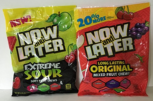 Now and Later Original Mixed Fruit Chews and Extreme Sour Soft Fruit Chews Combo (Each Bag 4.25 Ounce) (Now And Later Soft Grape compare prices)