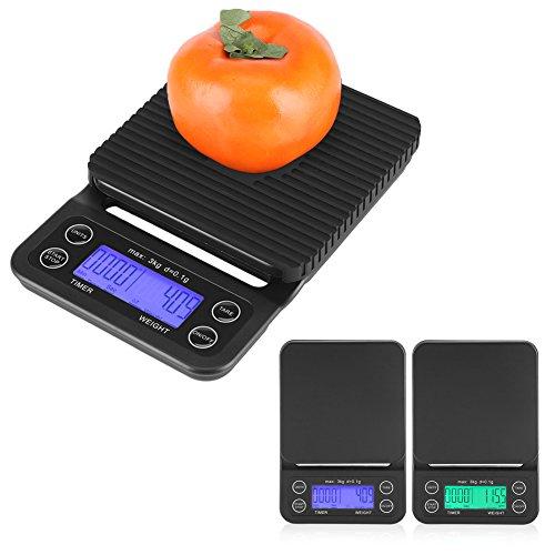 3kg/0.1g Báscula Digital de Comida para Cocina Balanza Electrónica Digital de ABS Multifunción Escala de Cocción Digital...