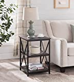 #3: Cappuccino Finish Metal X-Design Chair Side End Table with 3-tier Shelf