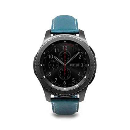 [SLG DESIGN] D6 Italian Minerva Box Leather Strap Band for Gear S3 Frontier/Classic 46mm, Italian Genuine Leather Band Replacement Galaxy Watch 22mm ...