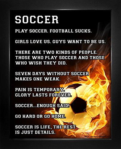 "Framed Soccer Player Fire 8"" x 10"" Sport Poster Print by Posters and Prints by Magnetic Impressions"