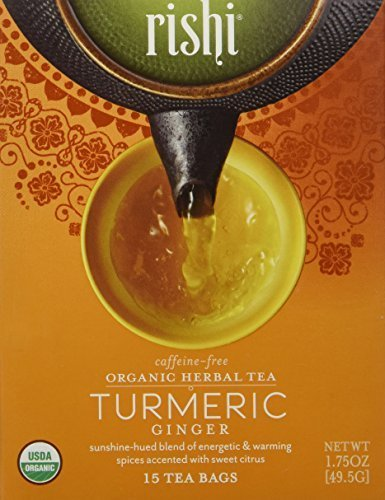 - Rishi Tea Turmeric Ginger Tea, Organic Caffeine-Free Herbal Tea Sachet Bags, 15 Count (Pack of 2)