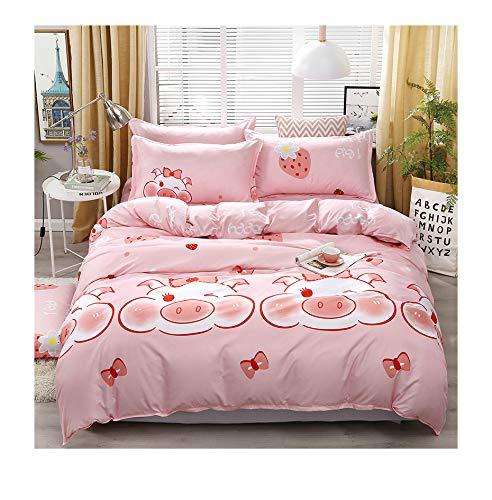 - KFZ Bed Set BeddingSet Duvet Cover Without Comforter Flat Sheet Pillowcase KSN1812 Twin Full Queen King Sheets Set Leaf Moon Pig Bottle Design for Kids 4pcs (Charm Pig, Pink, Queen 78