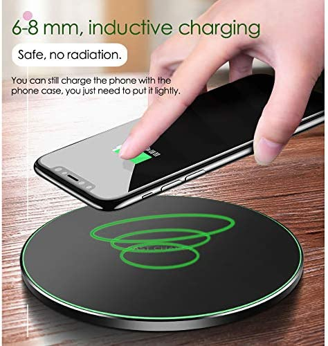 2Pack Wireless Charging Bundle 10W Qi-Certified Wireless Charging Pad Stand,7.5W Compatible with iPhone Xs MAX//XR//XS//X//8Plus,10W Fast Charging Galaxy S10//S10Plus//S10E//S9 No AC Adapter