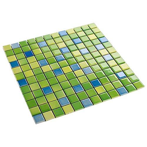 Keramik Mosaik Fliesen Gr/ün Mix Gl/änzend 6 mm