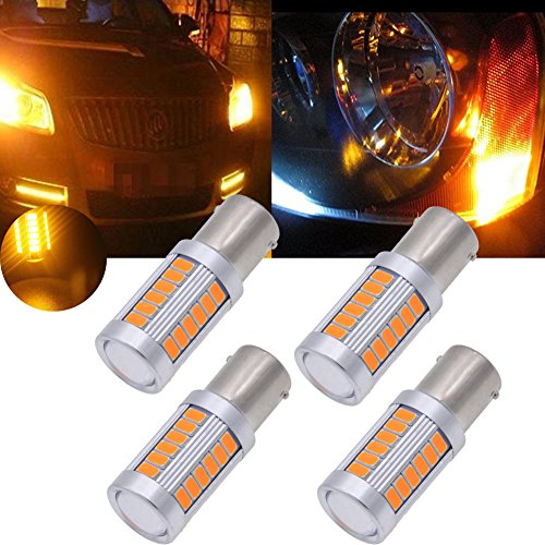 Pack of 10 TUINCYN 1156 LED Bulb Amber Yellow Turn Signal Light Bulb Super Bright 8000K 5630 33SMD 1141 1073 7506 Tail Blinker Light Brake Light Side Marker Bulbs RV Light Lamp DC 12V