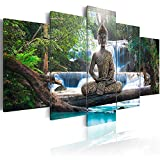 AWLXPHY Decor Buddha Waterfall Wall Art Canvas Painting Framed 5 Panels for Living Room Decoration Modern Landscape Buddha Trees Zen Stretched Artwork Giclee (Green, 60x30'')
