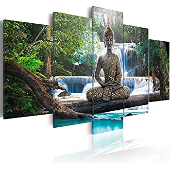 AWLXPHY Decor Buddha Waterfall Wall Art Canvas Painting Framed 5 Panels for Living Room Decoration Modern Landscape Buddha Trees Zen Stretched Artwork Giclee (Green, 80x40)