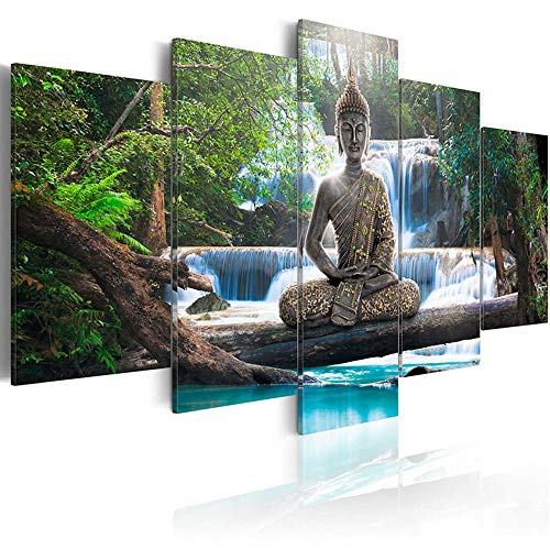 AWLXPHY Decor-Buddha Waterfall Wall Art Canvas Painting Framed 5 Panels for Living Room Decoration Modern Landscape Buddha Trees Zen Stretched Artwork Giclee (Green, 60x30'')