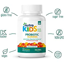 Probiotic Gummies by Nutra Kids - Strawberry & Orange Flavor 120 Count - Daily Organic Probiotics for Kids GLUTEN FREE - SUGAR FREE - VEGAN - KOSHER - HALAL DIGESTIVE SUPPLEMENTS