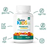 Probiotic Gummies by Nutra Kids - Strawberry & Orange Flavor 120 Count - Daily Organic Probiotics for Kids GLUTEN FREE - SUGAR FREE - VEGAN - KOSHER - HALAL DIGESTIVE SUPPLEMENTS