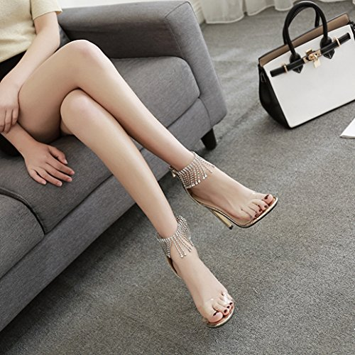 Femmes Stiletto Gland Strass Peep Toe Talons Hauts Sexy Ankle Strap Sandales Dames Robe Découper Chaussures Parti Wedding Strappy Pompes Gold 3ftMaE