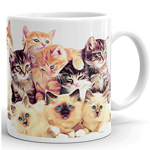 Cute Ceramic Cat Mug Gift - Coffee Mug Gifts - Great Novelty Gift for Cat Lover Kitty, Mom, Dad, Boss, Co-Worker and Friends - 11