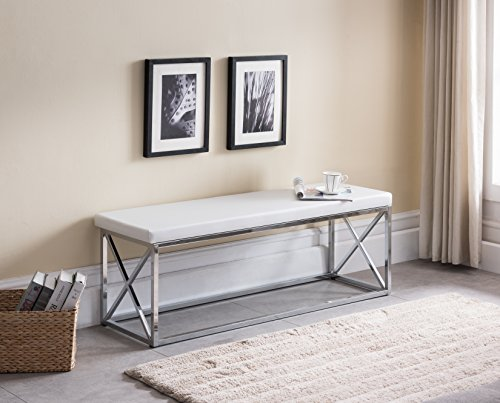 Leather Chrome Bench (White Bonded Leather / Chrome Metal Frame X-Design Entryway Bedroom Bench)
