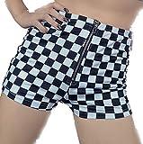 K-Chula Checkerboard Women's Shorts Skater Punk Raceway (X-Large) Black and White