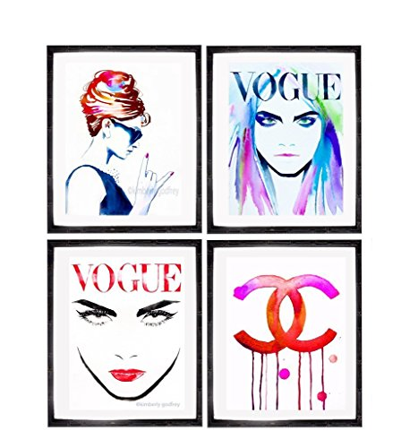 Set of 4 Fashion Illustrations Art Prints Retro Icons Colorful Watercolor Ink Paintings Salon Decor Pink Ink Audrey Cara - Original Chanel Designs