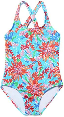 4dfa8d5c02 ATTRACO Little Big Girls Fringe Hollow-Out Rainbow Wave Stripe One Piece  Swimsuit