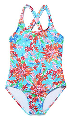 Price comparison product image ATTRACO Girl One Piece Swimming Suit Cross Back Sports Swimsuit Blue Size 10