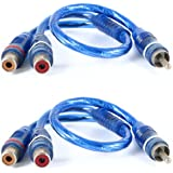 2 Pcs Male to 2 Female RCA Speaker Splitter Cable Adapter Blue 12""