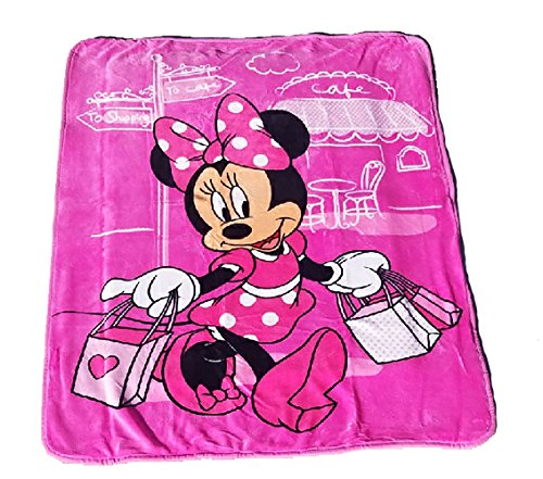 Cuddle Blanket Pooh Plush - Disney Minnie Mouse Paris Club House Plush Sherpa Baby Size Blanket, Measures 40 by 50 inches - Parisian Pink