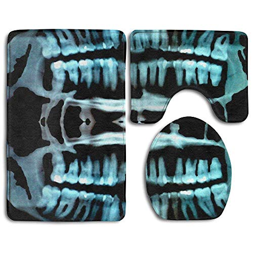 Halloween Spooky Skeleton Teeth Hot 3 Piece Bath Mat Set Non-Slip Bathroom Mats Contour Toilet Cover -