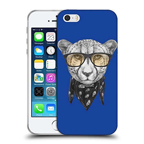 GoGoMobile Coque de Protection TPU Silicone Case pour // Q05030613 Foulard cheetah Bleu // Apple iPhone 5 5S 5G SE