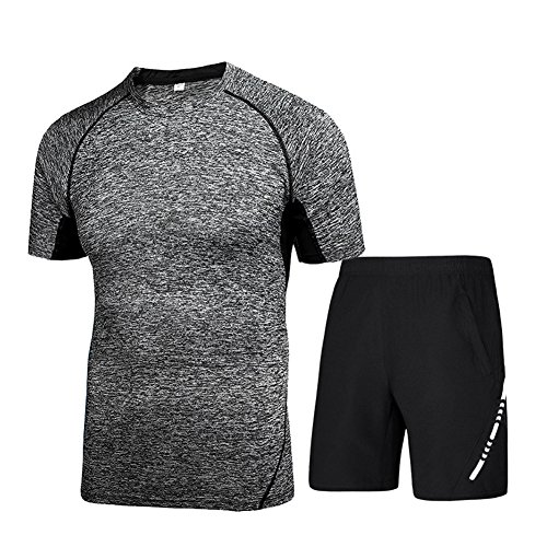 HaloVa Men's Running Clothing, Sports Fitness Men 2pcs Set Quick Dry Athletic Training T-Shirt Top & Shorts, - Running Clothes Male