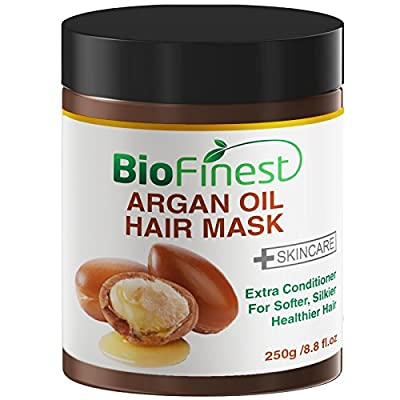 Biofinest Argan Oil Hair Mask - with 100% Organic Jojoba Oil, Aloe Vera, Keratin - Deep Conditioner for Dry/ Damaged/ Color Treated Hair (250g)