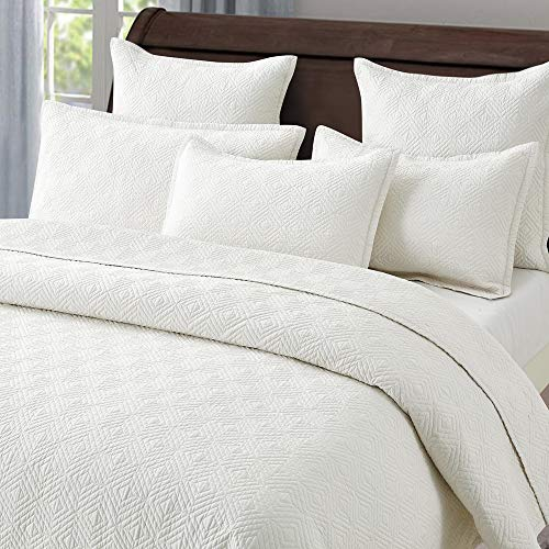 - Calla Angel Evelyn Stitch Diamond Pure Cotton Quilted Pillow Sham 20 x 26, Ivory, Standard