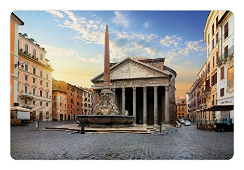 Ambesonne Obelisk Pet Mat for Food and Water, Traveling Italy Landmarks Picture of Pantheon and Fountain in Rome at Early Morning, Rectangle Non-Slip Rubber Mat for Dogs and Cats, Multicolor