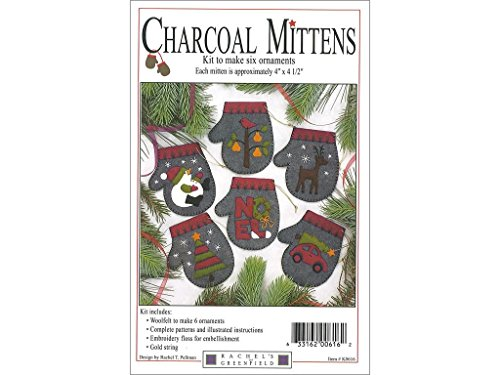 Rachel's of Greenfield Charcoal Mittens 4 x 4.5 Inches Felt Applique Christmas Ornament Kit (Set of 6) Charcoal K0616 -