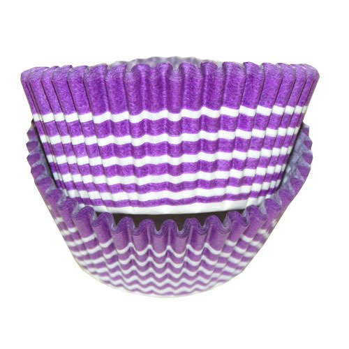 CLEARANCE FREE STANDARD SHIPPING - 24 Striped Baking Cups Cupcake Liners - Purple with Horizontal White Stripes - for Muffins / Cupcakes / Cake Pops - We Ship Within 1 Business Day!