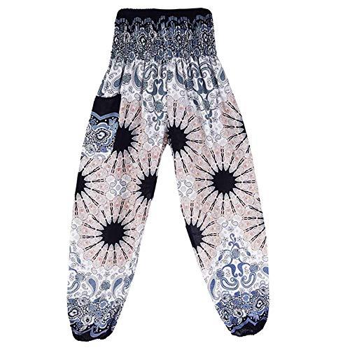 iLUGU Mens Womens Thai Harem Work Out Pants Leggings Depot Trousers Yoga Boho Sports Festival Hippy Smock High Waist Yoga White