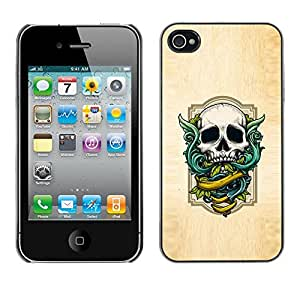 Shell-Star Arte & diseño plástico duro Fundas Cover Cubre Hard Case Cover para Apple iPhone 4 / iPhone 4S / 4S ( Wings Green Skull White Wood Texture )