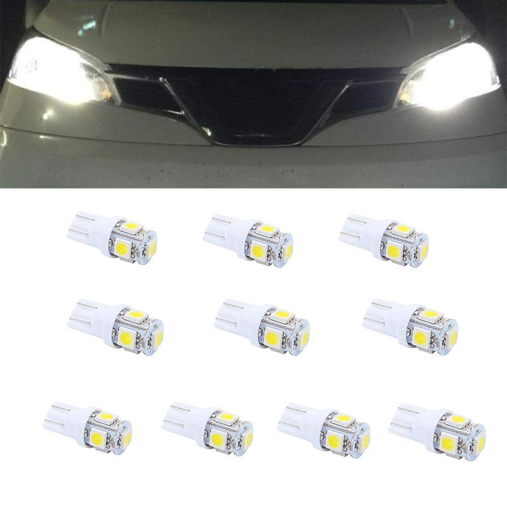 gaibian 10 Pcs T10 LED Car Light Bulbs 5SMD 5050 Wedge LED Car Lights Source Replacement Bulbs Side Marker Interior Lamps Dome Map Door Dashboard Trunk Courtesy License Plate Lights white
