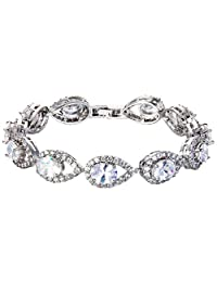 Ever Faith Silver-Tone Full Cubic Zirconia Hollow-out Tear Drop Wedding Roman Tennis Bracelet Clear N07758-1