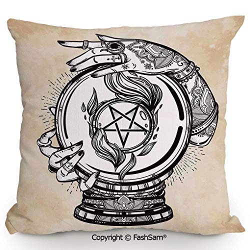 FashSam Decorative Throw Pillow Cover Illustration of Medium Crystal Ball for Mystery Future Fortune Psychic Powers for Pillow Cover for Living Room(14