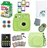 Fujifilm Instax Mini 9 Instant Camera – 10 Pack Accessory Camera Bundle – 20 Instax Film – Camera Case – Instax leather Album - 4 AA Rechargeable Batteries & Charger - And Much More (1 Year Warranty)