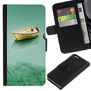 EJOY---La carpeta del tirón la caja de cuero de alta calidad de la PU Caso protector / Apple Iphone 6 / --Barco y búho