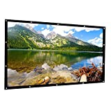 HENZIN 100 inch Projector Screen Portable 16:9 HD Projection Screen for Indoor Outdoor Home Theater Cinema Movie Travel, PVC Fabric