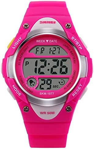 Novelty Digital Kids Watch Outdoor Sports Children's Waterproof Wrist Dress Watch With LED Digital Alarm Stopwatch Lightweight Silicone Rose Red