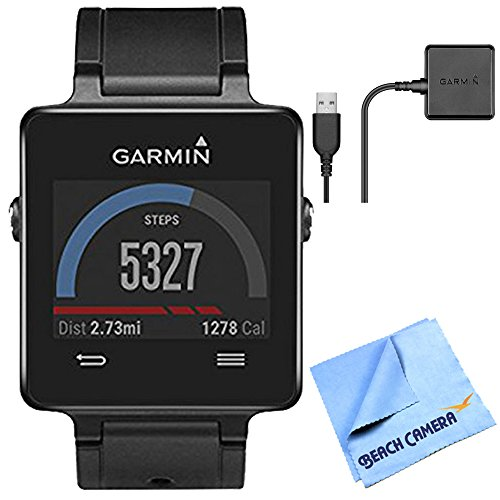 vivoactive GPS Smartwatch - Black (010-01297-00) Charging Clip Bundle includes Black vivoactive GPS Smartwatch, Charging Clip and Micro Fiber Cloth by Beach Camera