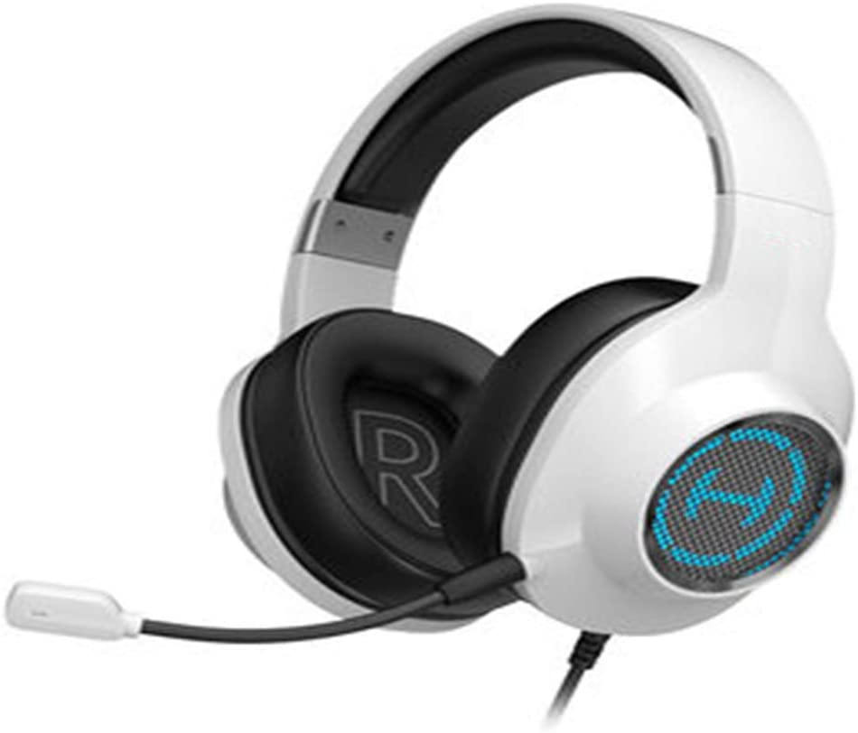 XHN Gaming Headset Laptop with LED Noise Cancelling Over Ear Headphones with Mic RGB Dynamic Lighting-White Soft Earmuffs