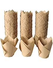 Tulip Cupcake Liners – 300-Pack Tulip Cupcake Wrappers Greaseproof Cupcake Paper Liners for Birthday,Party,Wedding- Natural Color…