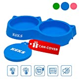 Cat Bowls - Blue Cat Food Set of Silicone Cat Feeder Stand & Pets Food Can Cover - Cat Food Bowl Set - Cat Dish Set - Kitten Food Bowl - Cat Feeding Bowls - Cat Water Bowl