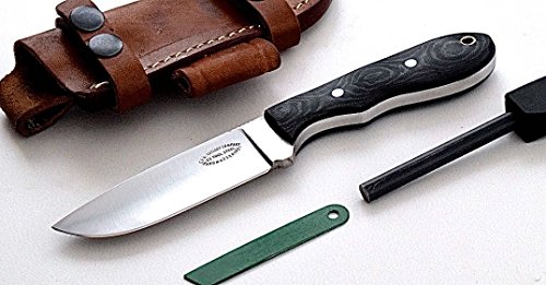 CFK Cutlery Company IPAK USA Custom Handmade D2 Black Micarta Small Skinning Mini Hunter Knife  Fire Starter Rod Set CFK169