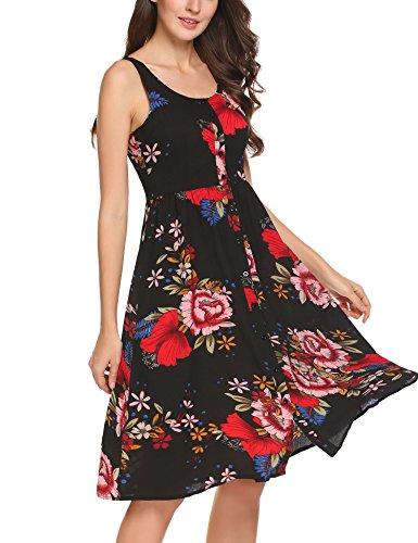 Up Women's A Line Zeagoo Print Floral black2 Button Sundress Sleeveless Flowy A d1wEq
