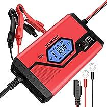 SUAOKI - Cargador de Baterias Coche 4 Amp 6/12V