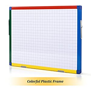 SwanSea Magnetic Whiteboard Dry Erase Wipe Planning Board with Colorful Frame 24×18 inch