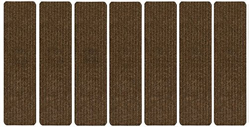 Stair Treads Collection Set of 7 Indoor Skid Slip Resistant Brown Carpet Stair Tread Treads (7 inch x 24 inch) (Brown, Set of (Stair Tread Set)